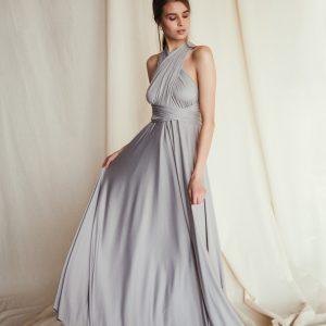 Multi Wrap Dress – Wickelkleid – Brautjungfern Kleid (Grau)