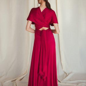 Multi Wrap Dress – Wickelkleid – Brautjungfern Kleid (Himbeere) Viskose