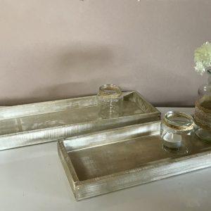 Deko-Tabletts 2er-Set – Weiß – Vintage