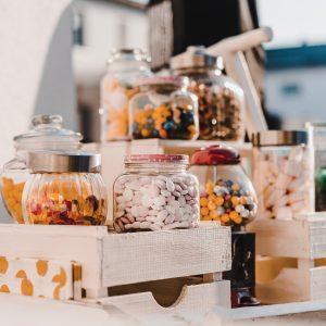 Candybar- Leiterwagen – Vintage – Weiß