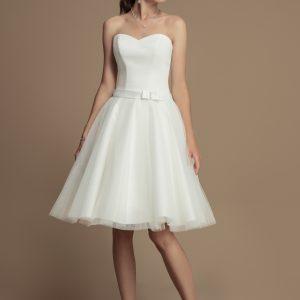 Standesamtkleid – Tüllkleid – Kurz – Weiß (Creme)