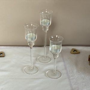 Kerzenhalter – Glashalter – 3er-Set – Dekoaufbau
