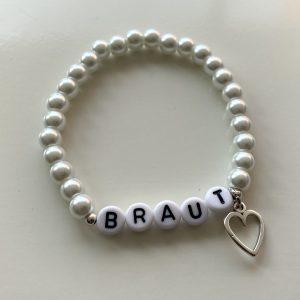 "Armband Glaswachsperlen weiß ""Mama"" ""Trauzeugin"" ""Lieblingsmensch"" ""Braut"""