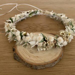 Haarkranz Trockenblumen WHITE-GREEN