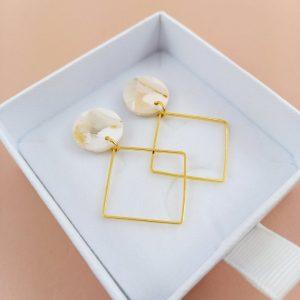 Ohrringe Braut – Quadrat – Brautschmuck – Filigrane Ohrringe